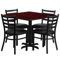 Buy Flash Furniture 36x36 Square Mahogany Laminate Table Set w/ 4 Ladder Back Metal Chairs - Black Vinyl Seat on sale online