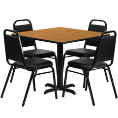 Buy Flash Furniture 36x36 Square Natural Laminate Table Set w/ 4 Black Trapezoidal Back Banquet Chairs on sale online