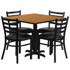 Buy Flash Furniture 36x36 Square Natural Laminate Table Set w/ 4 Ladder Back Metal Chairs - Black Vinyl Seat on sale online