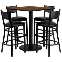 Buy Flash Furniture 36 Inch Square Walnut Laminate Table Set w/ 4 Grid Back Metal Bar Stools - Black Vinyl Seat on sale online