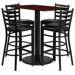 Buy Flash Furniture 42x24 Rectangular Mahogany Laminate Table Set w/ 4 Ladder Back Metal Barstools - Black Vinyl Seat on sale online