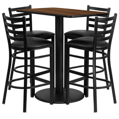 Buy Flash Furniture 42x24 Rectangular Walnut Laminate Table Set w/ 4 Ladder Back Metal Barstools - Black Vinyl Seat on sale online