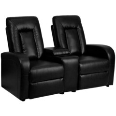 Buy Flash Furniture Black Leather 2-Seat Home Theater Recliner w/ Storage Console on sale online