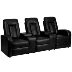 Buy Flash Furniture Black Leather 3-Seat Home Theater Recliner w/ Storage Consoles on sale online