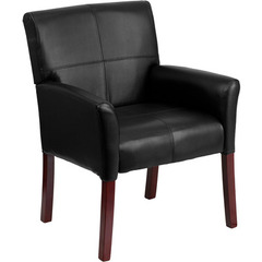 Buy Flash Furniture Black Leather Executive Side / Reception Chair w/ Mahogany Legs on sale online