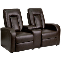 Buy Flash Furniture Brown Leather 2-Seat Home Theater Recliner w/ Storage Console on sale online