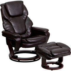 Buy Flash Furniture Contemporary Brown Leather Recliner & Ottoman w/ Mahogany Wood Base on sale online