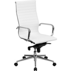 Buy Flash Furniture High Back White Ribbed Upholstered Leather Executive Office Chair on sale online