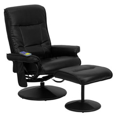 Buy Flash Furniture Massaging Black Leather Recliner & Ottoman w/ Leather Wrapped Base on sale online