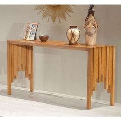 Buy Furnitech 63x17 Rectangular Rustic Console Table in a Warm Honey Finish on sale online