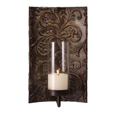 Buy IMAX Worldwide Galicia Embossed Metal and Glass Sconce on sale online