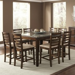 Buy Steve Silver Geneva 9 Piece 54x54 Counter Height Set in Brown on sale online