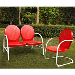 Buy Crosley Furniture Griffith 2 Piece Outdoor Seating Set - Loveseat & Chair in Red on sale online