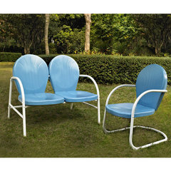 Buy Crosley Furniture Griffith 2 Piece Outdoor Seating Set - Loveseat & Chair in Sky Blue on sale online