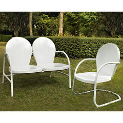 Buy Crosley Furniture Griffith 2 Piece Outdoor Seating Set - Loveseat & Chair in White on sale online
