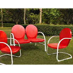 Buy Crosley Furniture Griffith 3 Piece Outdoor Seating Set - Loveseat & 2 Chairs in Red on sale online