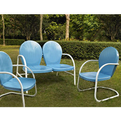 Buy Crosley Furniture Griffith 3 Piece Outdoor Seating Set - Loveseat & 2 Chairs in Sky Blue on sale online