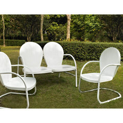 Buy Crosley Furniture Griffith 3 Piece Outdoor Seating Set - Loveseat & 2 Chairs in White on sale online
