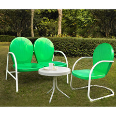 Buy Crosley Furniture Griffith 3 Piece Outdoor Seating Set - Loveseat & Chair in Grasshopper Green w/ Side Table on sale online