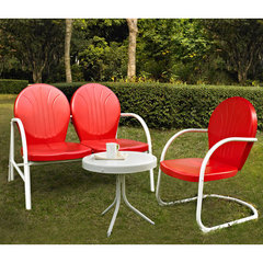 Buy Crosley Furniture Griffith 3 Piece Outdoor Seating Set - Loveseat & Chair in Red w/ Side Table on sale online