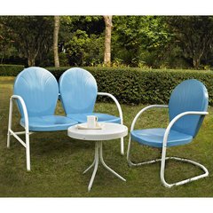 Buy Crosley Furniture Griffith 3 Piece Outdoor Seating Set - Loveseat & Chair in Sky Blue w/ Side Table on sale online