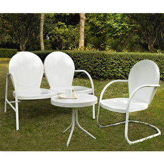 Buy Crosley Furniture Griffith 3 Piece Outdoor Seating Set - Loveseat & Chair in White w/ Side Table on sale online