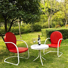 Buy Crosley Furniture Griffith 3 Piece Outdoor Seating Set - Two Chairs in Red w/ Side Table on sale online