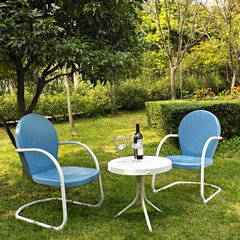 Buy Crosley Furniture Griffith 3 Piece Outdoor Seating Set - Two Chairs in Sky Blue w/ Side Table on sale online