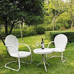 Buy Crosley Furniture Griffith 3 Piece Outdoor Seating Set - Two Chairs in White w/ Side Table on sale online
