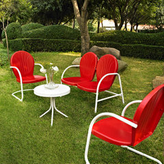 Buy Crosley Furniture Griffith 4 Piece Outdoor Seating Set - Loveseat & 2 Chairs in Red w/ Side Table on sale online