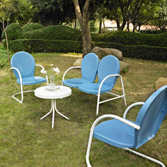 Buy Crosley Furniture Griffith 4 Piece Outdoor Seating Set - Loveseat & 2 Chairs in Sky Blue w/ Side Table on sale online