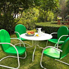 Buy Crosley Furniture Griffith Metal 40 Inch 5 Piece Outdoor Dining Set w/ Grasshopper Green Chairs on sale online