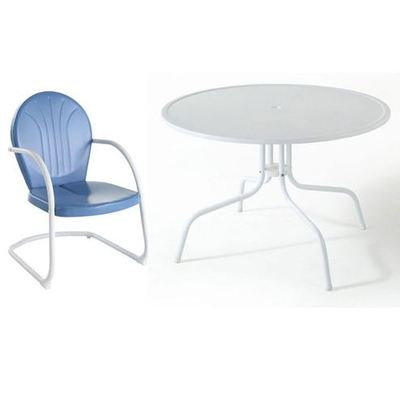 Buy Crosley Furniture Griffith Metal 40 Inch 5 Piece Outdoor Dining Set w/ Sky Blue Chairs on sale online