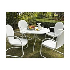 Buy Crosley Furniture Griffith Metal 40 Inch 5 Piece Outdoor Dining Set w/ White Chairs on sale online