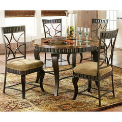 Buy Steve Silver Hamlyn 5 Piece Marble Top 44x44 Round Dining Room Set on sale online