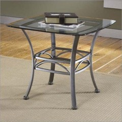 Buy Hillsdale Abbington 26x26 Square End Table w/ Glass Top in Grey on sale online