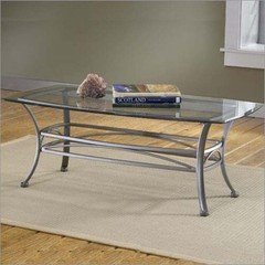 Buy Hillsdale Abbington 48x26 Coffee Table w/ Glass Top in Grey on sale online