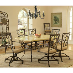 Buy Hillsdale Brookside 7 Piece Rectangle Dining Room Set w/ Oval Back Caster Chairs on sale online