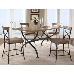 Buy Hillsdale Charleston 5 Piece 72x40 Counter Height Rectangle Dining Set w/ X Back Stools on sale online