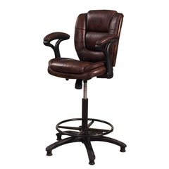 Buy Hillsdale Dawson 31 Inch Upholstered Barstool w/ Adjustable Back in Brown Vinyl on sale online