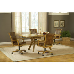Buy Hillsdale Grand Bay 5 Piece Rectangle Dining Room Set w/ Caster Chairs in Medium Oak on sale online