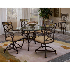 Buy Hillsdale Pompei 5 Piece 48x48 Dining Room Set w/ Castered Chairs on sale online