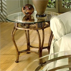 Buy Hillsdale Scottsdale 26 Inch Round End Table w/ Glass Top in Gold on sale online