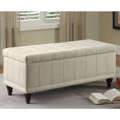 Buy Homelegance 44x19 Afton Lift-Top Fabric Storage Bench in Cream on sale online