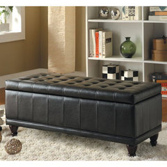 Buy Homelegance Afton Lift-Top Vinyl Storage Bench in Dark Brown on sale online