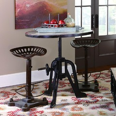 Buy Homelegance Amara 3 Piece 34x34 Round Iron Lift-Top Bar Table Set in Metal on sale online