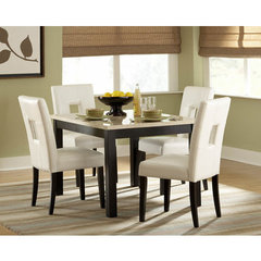 Buy Homelegance Archstone 5 Piece 48x36 Dining Room Set w/ White Stools on sale online