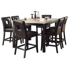 Buy Homelegance Archstone 7 Piece 48x48 Counter Height Set w/ Black Stools on sale online