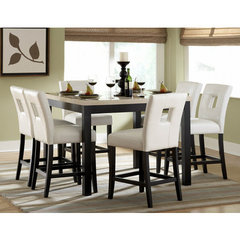 Buy Homelegance Archstone 7 Piece 48x48 Counter Height Set w/ White Stools on sale online