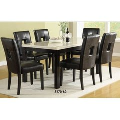 Buy Homelegance Archstone 7 Piece 60x36 Dining Room Set w/ Black Stools on sale online